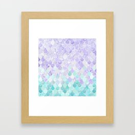 Mermaid Iridescent Purple and Teal Pattern Framed Art Print