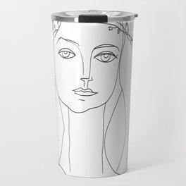 Picasso Line Art - Woman's Head Travel Mug
