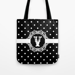 Black Monogram: Letter V Tote Bag