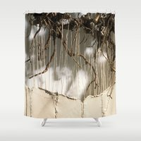 leather Shower Curtains featuring Vine & Leather by Peta Sun Fire