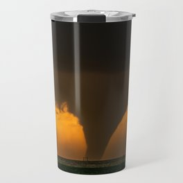 Silhouette - Large Tornado at Sunset in Kansas Travel Mug