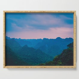 Misty Hills under the Evening Sky. Nature Photography. Vietnam, Asia. Serving Tray