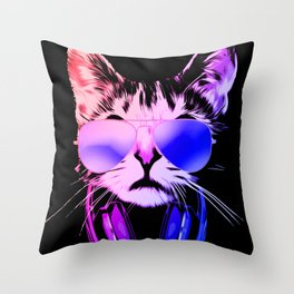 DJ Cat in Neon Throw Pillow