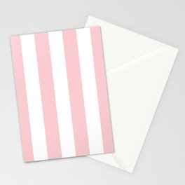 Large White and Light Millennial Pink Pastel Circus Tent Stripe Stationery Cards