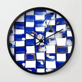 Blue and White Checks Wall Clock