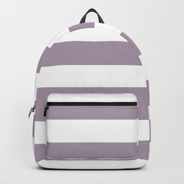Heliotrope gray - solid color - white stripes pattern Backpack
