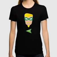 GREEN ARROW Womens Fitted Tee Black LARGE