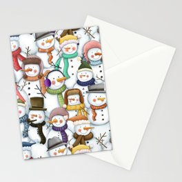 Happy Snowmen Pattern Stationery Cards