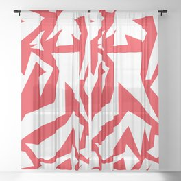 weird red art Sheer Curtain