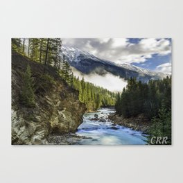 Kicking Horse River with Mount Hunter towering over Canvas Print