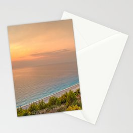 The sunset at the beach Mylos in Lefkada, Greece Stationery Cards