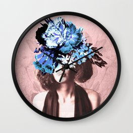 Floral Woman Vintage Blue and Pink Rose Gold Wall Clock