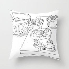 Raspberry Tarts Throw Pillow