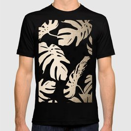 Simply Tropical White Gold Sands Palm Leaves on Dots T-shirt