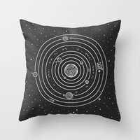 solar system Throw Pillows featuring SOLAR SYSTEM by Mírë