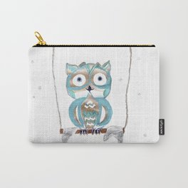 Owl Fun #2 #blue #gold #drawing #decor #art #society6 Carry-All Pouch