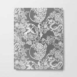 Pieces of China: Clusters (white on grey) Metal Print
