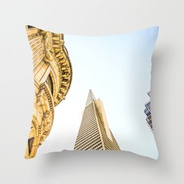 pyramid building and modern building and vintage style building at San Francisco, USA Throw Pillow