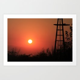 Blazing Red Kansas Windmill Silhouette Art Print