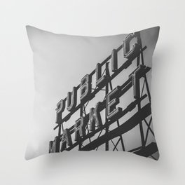 Seattle Pike Place Public Market Black and White Throw Pillow