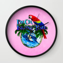 Pink Island Time Surfing Wall Clock
