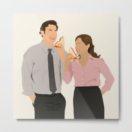 Jim and Pam Eating Peanut Butter and Jelly (PB&J) Sandwiches Metal Print