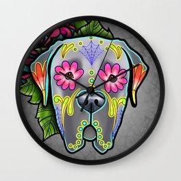 Mastiff in Grey - Day of the Dead Sugar Skull Dog Wall Clock