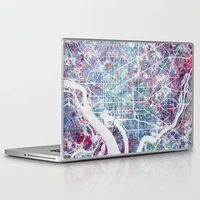 washington Laptop & iPad Skins featuring Washington map by MapMapMaps.Watercolors