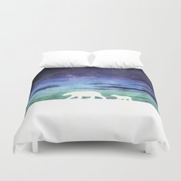 Aurora borealis and polar bears (white version) Duvet Cover