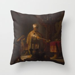 Rembrandt - Daniel and Cyrus before the Idol Bel (1633) Throw Pillow