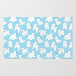 Bichon Frise Pattern (Blue Background) Rug