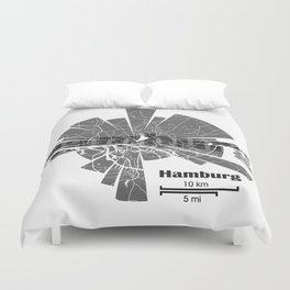 Hamburg Map Duvet Cover