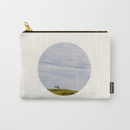 Mid Century Modern Round Circle Photo Graphic Design Green Hill In The Sky Carry-All Pouch