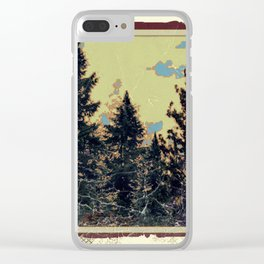 SHABBY CHIC ANTIQUE PHOTO PINE TREES ART Clear iPhone Case