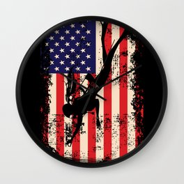 American Flag Scuba Diving Deep Sea Divers T-Shirt Wall Clock