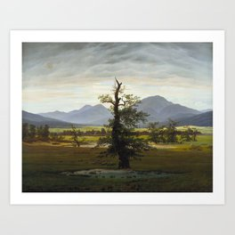Caspar David Friedrich - Village Landscape in Morning Light / The Lone Tree (1822) Art Print
