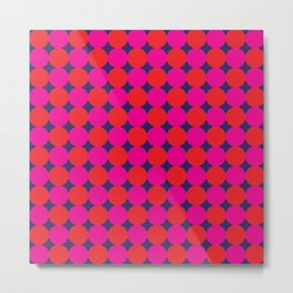 Red and Pink Dodecagons on Blue Metal Print
