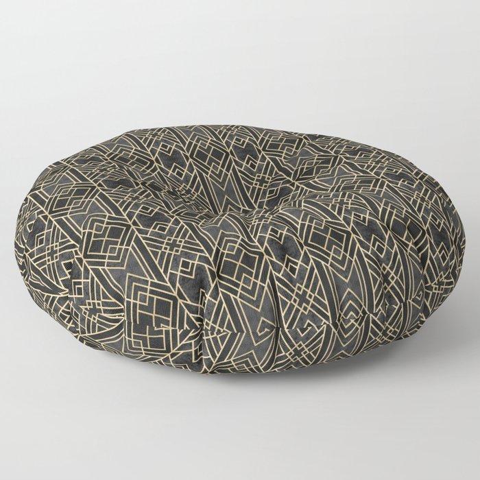 Dark Lines Art Deco Floor Pillow