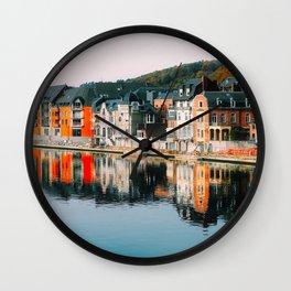 Dinant, Row Houses, Waterfront, Belgium, City, Urban. Beautiful city photo. Urban art. Vintage style. Illustration. Wall Clock