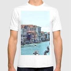 Along the Grand Canal White MEDIUM Mens Fitted Tee