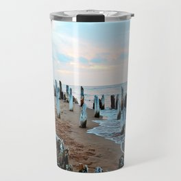 Wharf Remains on the Beach Travel Mug