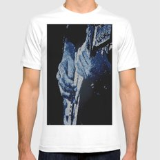 Mosaic Blues White Mens Fitted Tee MEDIUM