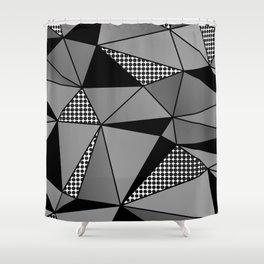 Monochrome Polygons Shower Curtain