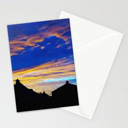 Beautiful Evening Red oVer Little Town Ultra HD Stationery Cards