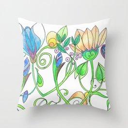 Flower Freize Throw Pillow
