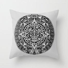 Mayan Calendar // Light Grey Throw Pillow
