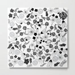 Black and White Floral Pattern Metal Print