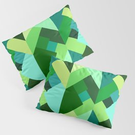 Modern Abstract Triangles, Emerald Green and Aqua Pillow Sham