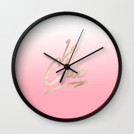 Gold Le Chic French Quote Pink Gradient Wall Clock