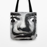 grand theft auto Tote Bags featuring I am drugs ( Salvador Dali ) by Black Neon